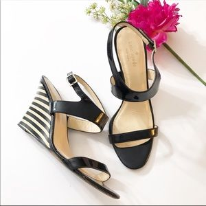 Kate Spade Patent Leather Stripe Wedge Sandal